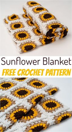 Crochet Sunflower Blanket Pattern We have brought to you a big collection of free crochet blanket patterns that will not only provide you coziness in winters but also add a pop of colors to y Crochet Motifs, Afghan Crochet Patterns, Crochet Squares, Crochet Stitches, Knitting Patterns, Knitting Bags, Doilies Crochet, Crochet Afghans, Yarn Projects