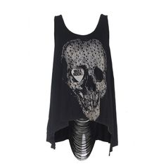 Clubbed To Death Top Ibiza Rocks Skull String Back in Jet Black. ($32) ❤ liked on Polyvore featuring tops, shirts, tank tops, tanks, blusas, rock tops, skull shirt, shirts & tops, stringer tank top and rock tank tops