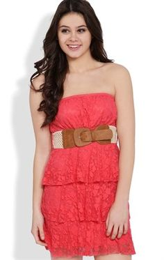 Deb Shops #Coral Tiered Strapless Dress with Daisy Lace and Crochet Belt $25.00