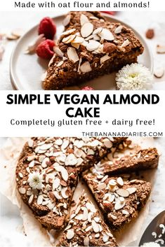 Vegan Almond Cake (Gluten Free) – The Banana Diaries Deliciously easy vegan almond cake made from 7 simple gluten free ingredients! Perfect as a healthy morning treat or snack! Gluten Free Almond Cake, Almond Cakes, Gluten Free Cakes, Vegan Gluten Free, Banana Recipes, Almond Recipes, Vegan Dessert Recipes, Gourmet Recipes, Dairy Free Chocolate Chips