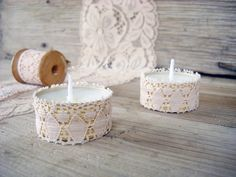 Tea Light Candle in tin and lace. LOVE