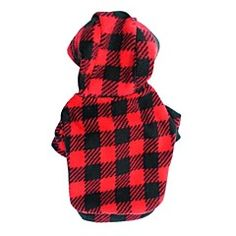 Cat / Dog Hoodie Red / Rose Dog Clothes Winter / Spring/Fall Plaid/Check / Polka Dots Fashion