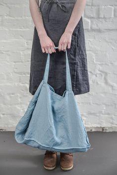 Large Swedish blue linen tote bag / linen beach bag by notPERFECTLINEN on Etsy