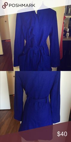Royal blue coat with ruffles Royal blue coat. Only been worn once! In great condition! Emmelee Jackets & Coats Trench Coats