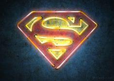 Superman Neon Sign Neon Signs Uk, Custom Neon Signs, Neon Light Signs, First Superman, Superman Logo, Logo Super Heros, Baby Avengers, Glow Paint, Superman Man Of Steel