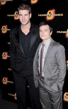 The boys! Liam Hemsworth and Josh Hutcherson at the Paris premiere of The Hunger Games today at Cinéma Gaumont Champs-Elysées Marignan.