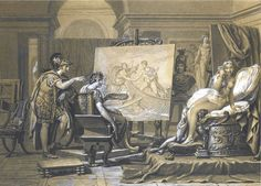 Apelles Painting Campaspe ~ Jacques-Louis David 1813 Located at: Private Collection