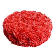 A Good Gift For Fiance Female Half Kg Red Rose Cake Best