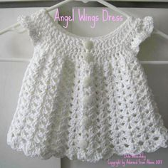 Free Crochet Baby Dress Patterns | crocheted dress newborn 2 skeins white i love this cotton 1 h crochet ... | diyenergy.co