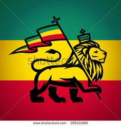 lion of judah with a rastafari flag. Lion of Zion illustration. Reggae music vector design - stock vector