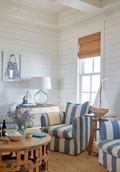 shiplap walls + striped slipcovered chairs