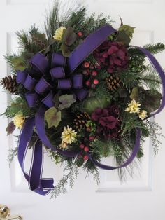 PURPLE EVERGREEN WREATH by Fun Florals on Etsy