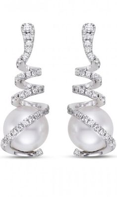 Pearl and Diamond Earrings by Mastoloni, HT