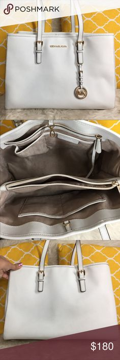 "🌸OFFERS?🌸Michael Kors All Leather White Tote 🌷Authentic🌷Great condition. Minor sign of use on the leather & hardware. All parts intact and functional. Features 3 main compartment center zips the other two has clasp to close the bag, total of 5 pockets inside, keyfob, metal feet for protection, gold hardware and MK charm. Wear it by arm/hand or shoulder. Offers a lot of room for organizing. Great for work/travel/school/laptop bag. Don't be shy to make an offer💕 Dimensions: L14"" H10.5""…"