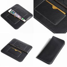 "PDair Simple Leather Wallet Case for Apple iPhone 6 Plus (5.5"") with Card Holder (Type I) (Black)"