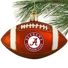Alabama Crimson Tide Glass Football Ornament! Check out all of the Bama Holiday decor here: http://pin.fanatics.com/COLLEGE_Alabama_Crimson_Tide_Accessories_Holiday_Items/source/pin-bama-hoilday-items-sclmp