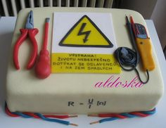 Cake For Electrician Inscription: Warning! Do not touch the guest of honoree, who fell to the floor, it's dangerous. Beautiful Cakes, Amazing Cakes, Cake Original, Retirement Cakes, Tool Cake, Square Cakes, 3d Cakes, Take The Cake, Cake Decorating Techniques