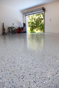 Garage epoxy flake floor looks awesome!