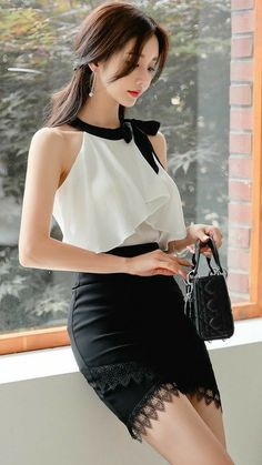 Korean Fashion Dress, Kpop Fashion Outfits, Asian Fashion, Skirt Fashion, Fashion Dresses, Classy Outfits, Sexy Outfits, Mode Kpop, Professional Outfits