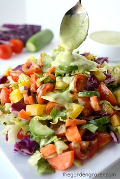 Rainbow Chopped Salad with Avocado Basil Dressing ~ The dressing makes an amazing veggie dip or dressing for other salads too.