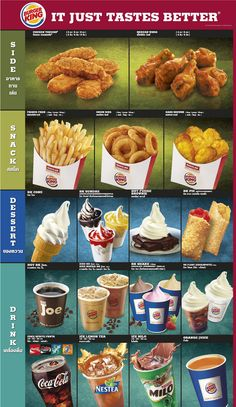 IT JUST TASTES BETTER        Burger King Menu        เบอร์เกอร์ คิง เมนู
