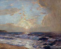 """Albert Julius Ollson  """"Sunset Cornish Coast"""""""