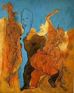 Max Ernst: 'Personnages dont un sans tête'.