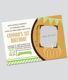 Adorable Halloween themed birthday party invitation customized & personalized for your precious little pumpkin!