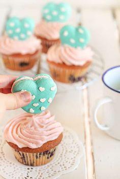 Macaron on a cupcake