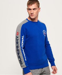 Shop Superdry Mens Trophy Tri Colour Sweatshirt in Dark Trophy Grey Marl. Buy now with free delivery from the Official Superdry Store. Zip Up Hoodies, Mens Sweatshirts, Superdry Mens, Superdry Style, Pullover, Kids Outfits, Men Sweater, Mens Tops, Gym