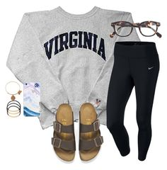 """""""I love making lazy outfit sets"""" by madison426 ❤ liked on Polyvore featuring NIKE, Birkenstock, J.Crew, BP., Alex and Ani, women's clothing, women, female, woman and misses"""