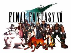 Cait Sith, Aeris, Vicent, Cloud, Cid, Tifa, Barret e Red XIII