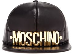 0ac2bbca1db MOSCHINO Black Leather Snapback with gold tone metal designer logo which is   405 is one of my favorite snapback.
