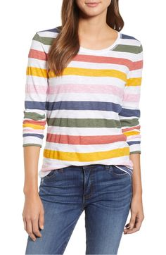 Long Sleeve Crewneck Tee,                         Main,                         color, Ivory Nomad Stripe