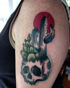 New Сute Cactus tattoo, - Cactus tattoo - Cactus Tattoo, Tatuagem Old School, Tatting, Skull, Embroidery, Diy, Ideas, Tattoo Ideas, Needlepoint
