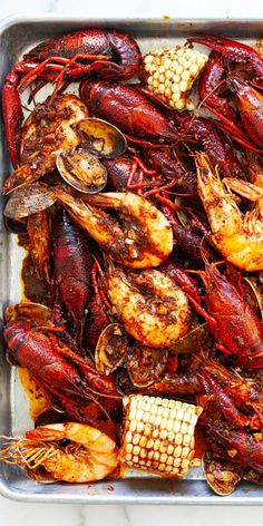 Seafood Boil with fiery butter sauce with ho. Cajun Seafood Boil with fiery butter sauce with homemade Cajun seasoning. This is the only seafood boil recipe you'll need, it's the BEST Cajun Seafood Boil, Shrimp And Crab Boil, Seafood Boil Party, Seafood Boil Recipes, Seafood Dinner, Cajun Recipes, Sauce Recipes, Cooking Recipes, Cajun Shrimp
