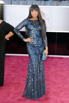 Best Oscars Dresses 2013: Jennifer Hudson went for high-impact glam in a long-sleeved, sequined Roberto Cavalli gown.