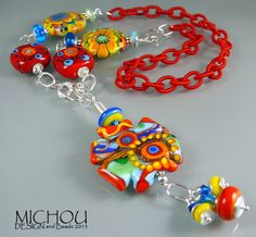 Coral World Art Glass Necklace by Michou Pascale by MichouJewelry