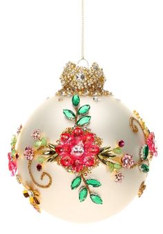 Mark Roberts Christmas Ornaments   King's Jewel Collection   Jeweled Ornaments   Floral Ornament   36-43992