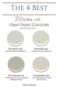 The best warm gray paint colours that are almost greige, Sherwin Williams. Color Consultant Kylie M Interiors E-Design and Decor by mildred