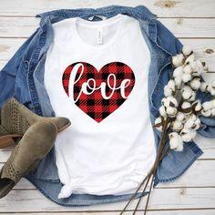 Love Valentine T-Shirt tshirtcustom tshirtclothing Womens Valentine Shirts, Valentines Day Shirts, Valentine Crafts, Buffalo Plaid Shirt, Love Shirt, Heart Shirt, T Shirt World, Vinyl Shirts, T Shirts For Women