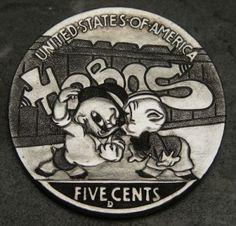 Steve Cox - Hobos and Graffiti Hobo Nickel, Coin Art, Old Coins, Metal Art, Graffiti, Carving, Animation, Cartoon, Buffalo