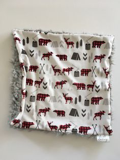 Bear buffalo check lovey, deerForest Animal Baby lovey security Blanket, minky Baby Blanket, Woodland Nursery,  Nursery, Baby Shower gift, by DwellDarling on Etsy