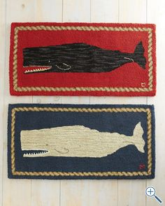 Whale Hooked Wool Rug available at Garnet Hill why couldn't I make these with natural fibers , simple design on mesh? Nautical Bathrooms, Bathroom Kids, Nautical Rugs, Nautical Bedroom, Nautical Theme, Wool Applique, Coastal Style, Rug Hooking, Fiber Art