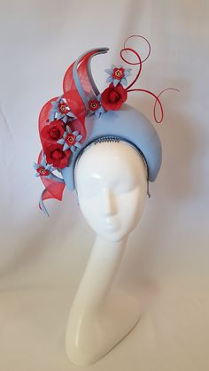 Pale blue leather blocked halo with crinoline swirls and red and blue handmade leather flowers. Blue Fascinator, Jeweled Headband, Sinamay Hats, Rococo Fashion, Fancy Hats, Flower Hats, Pink Hat, Wedding Hats, Leather Flowers