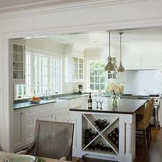 Patrick Ahearn Architecture - kitchens - built in wine rack, island wine rack, kitchen island