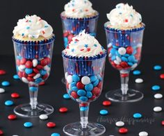 Serve Red, White, and Blue Cupcakes in plastic wine goblets or champagne flutes filled with candy. It's a quick and easy way to dress up a cupcake.