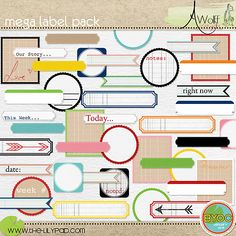 A set of 76 labels that coordinate with the January 2012 BYOC.  Perfect for adding a little bit of journaling to your photo or layout.  Great for Project Life and 365.  You receive: 7 styles of labels in 8-9 colors each + 12 labels with wordart or arrows.