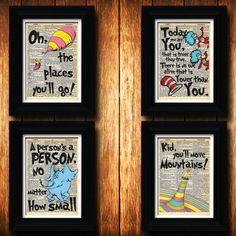 Dr. Seuss Package-nursery decor-buy three get one free-unique baby shower gift-nursery art-oh the places you'll go-kid you'll move mountains on Etsy, $30.00