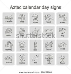 Icons with Aztec calendar Day signs vector image on VectorStock Calendar Day, Aztec Calendar, Royalty Free Images, Royalty Free Stock Photos, Zodiac Houses, Aztec Warrior, No Rain No Flowers, Aztec Art, Vector Free